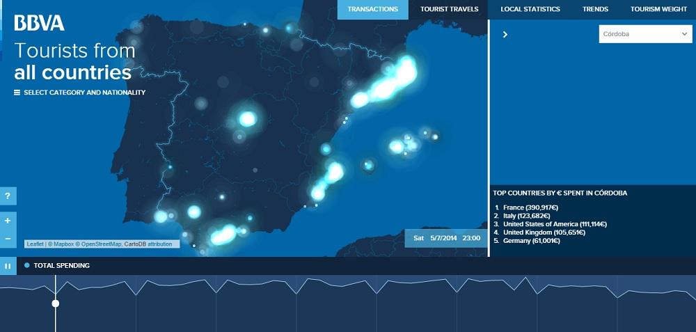 El mapa en el que verás dónde y en qué se dejan el dinero los turistas