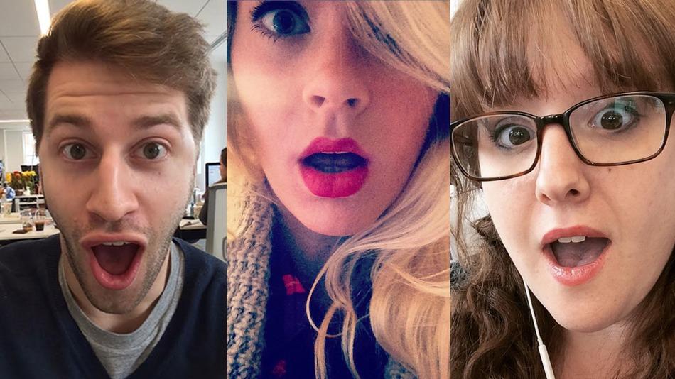 cara de sorpresa en las selfies